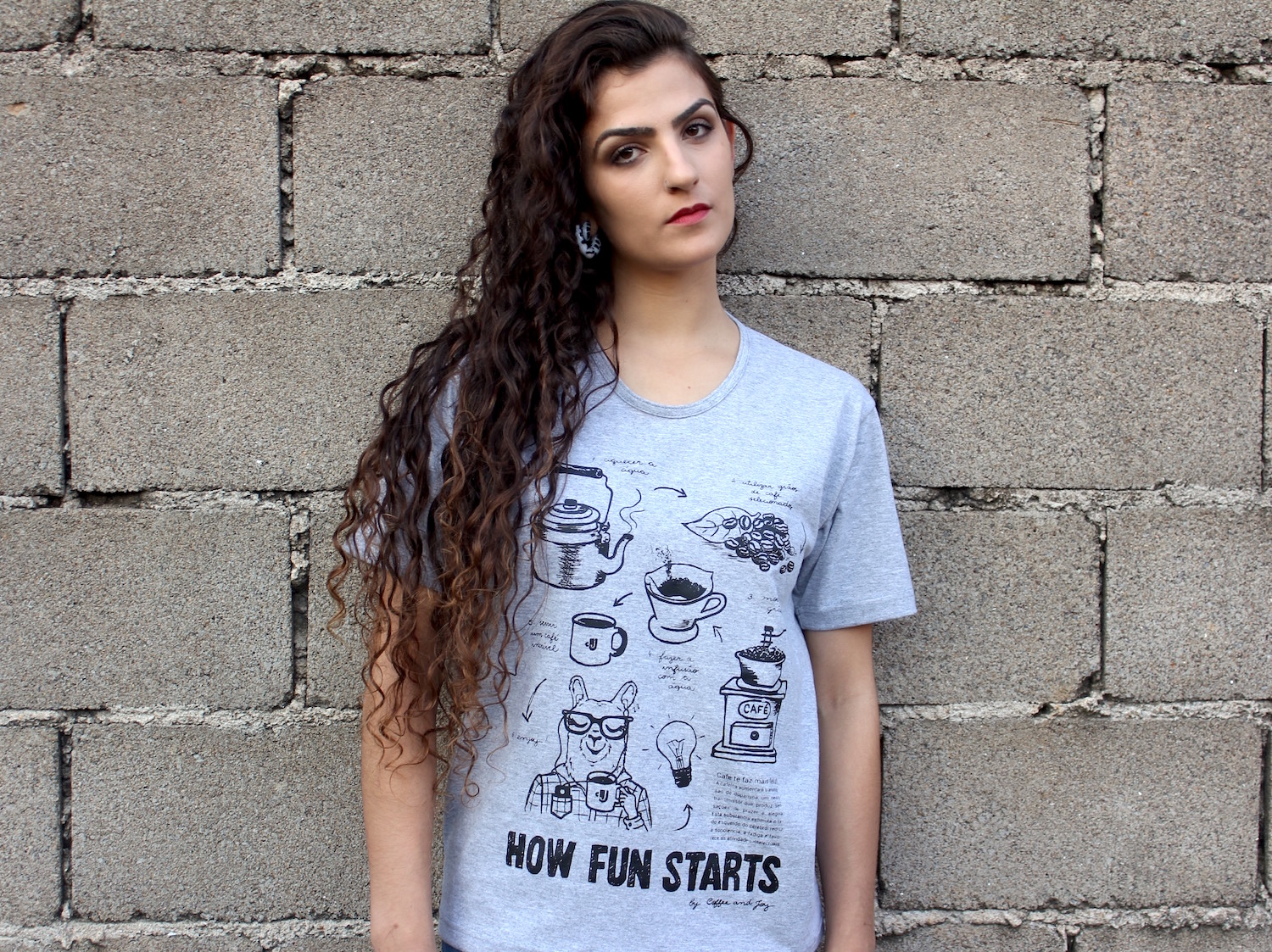Camiseta fun cinza fem