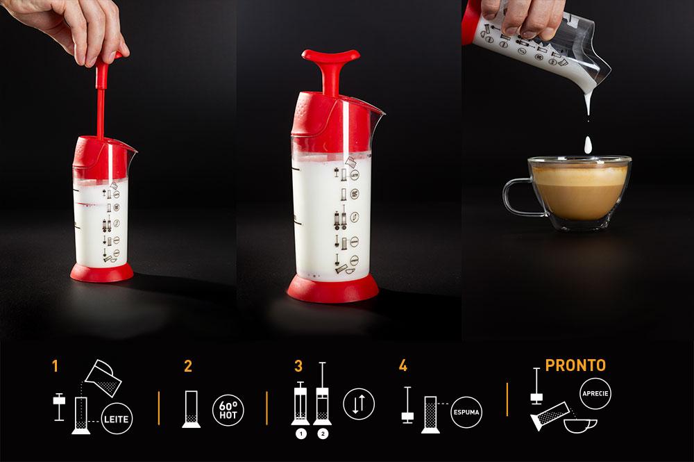 Coffeeandjoy espumador de leite pressca passo a passo