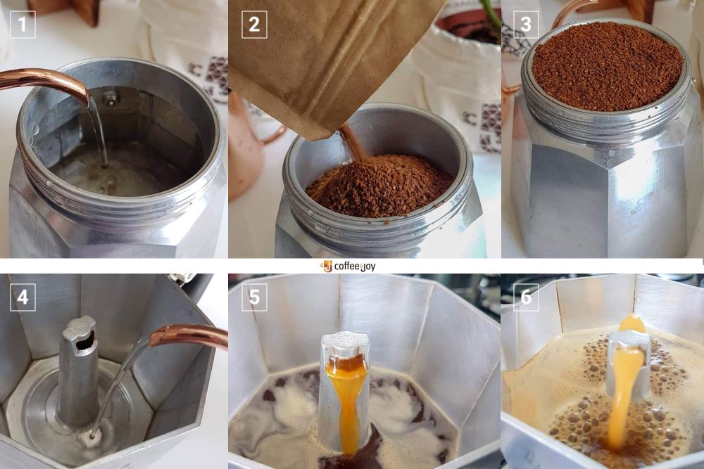 Coffeeandjoy passo apasso na cafeteiraa italiana